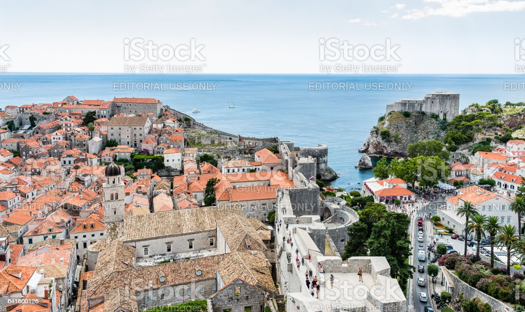 Old Town and Fort Lovrijenac in Dubrovnik, Croatia stock photo