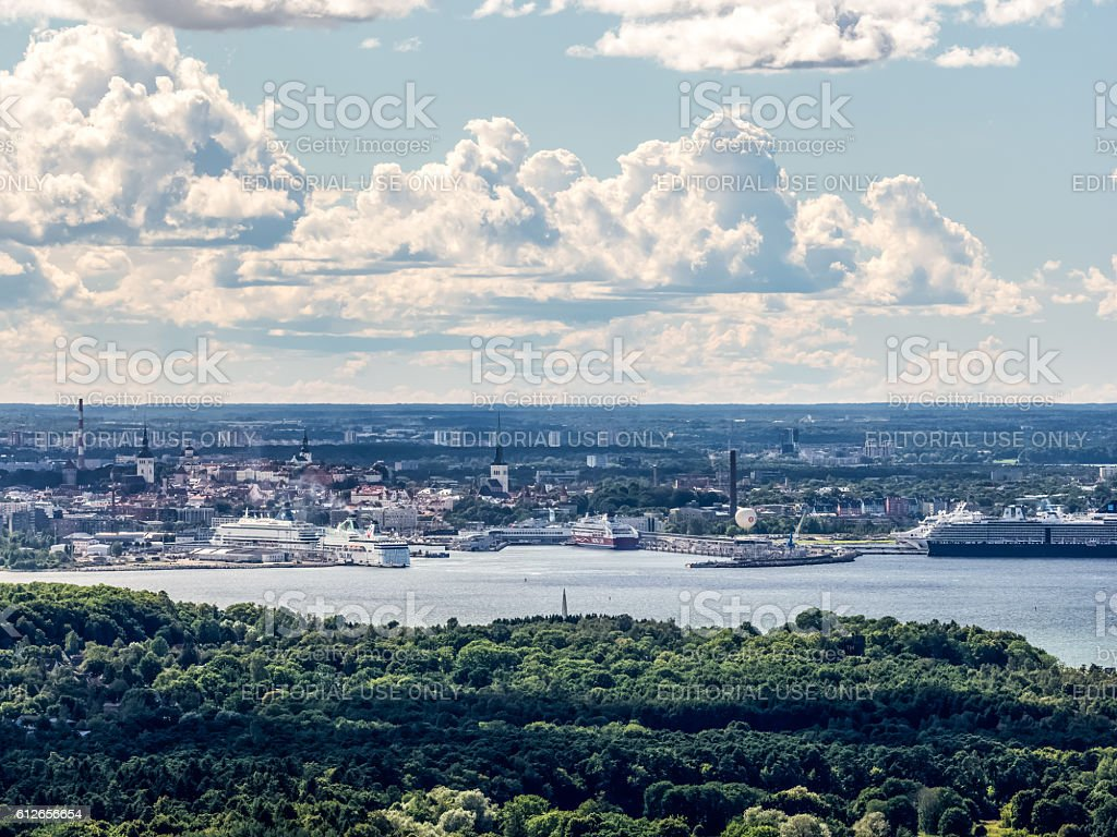 Old town and harbor of Tallinn stock photo