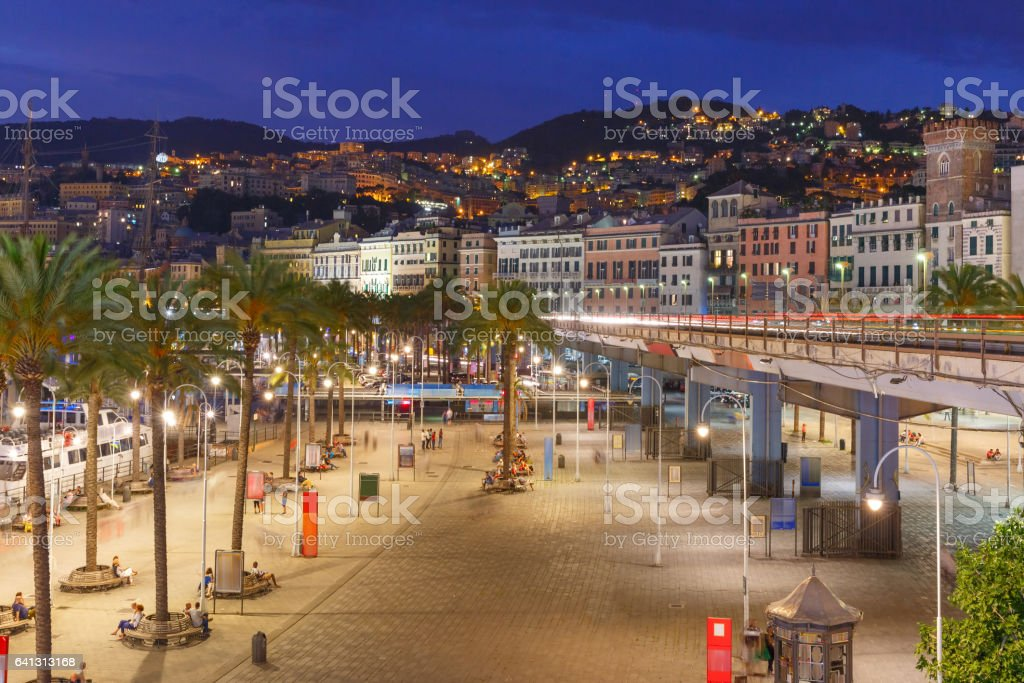 Old town and highway of Genoa at night, Italy stock photo