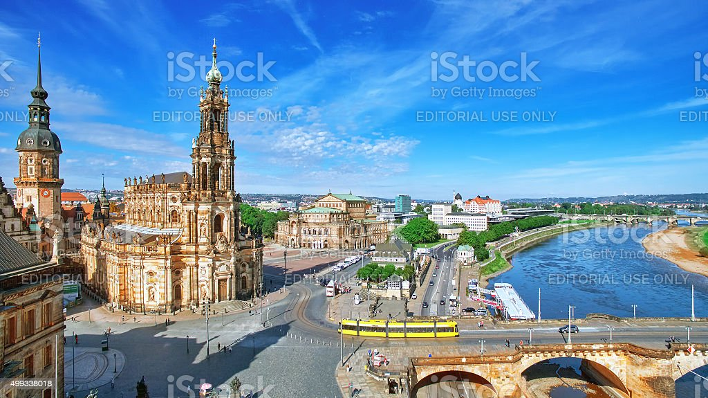 Old Town and of Katholische Hofkirche, Dresden, stock photo