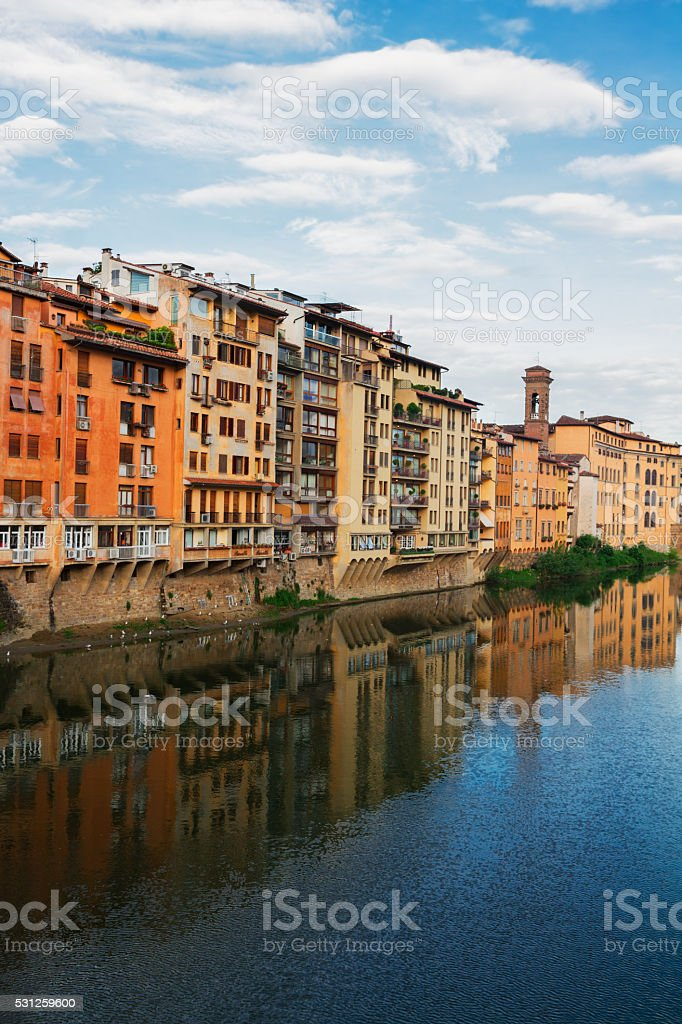 old town and river Arno, Florence, Italy stock photo