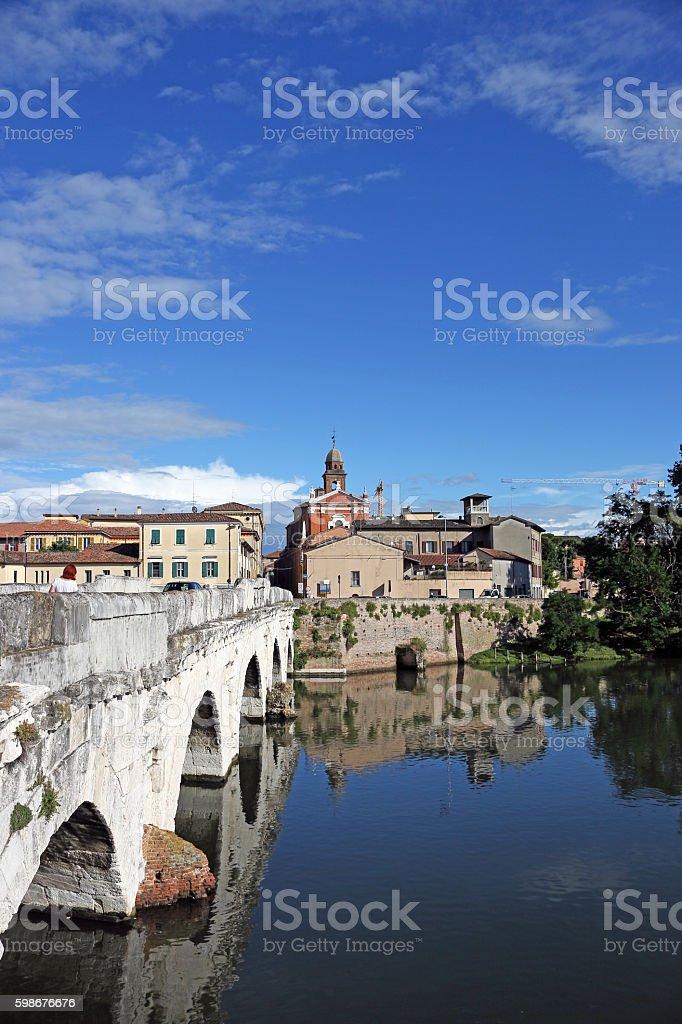 Old town and Tiberius bridge Rimini Italy stock photo