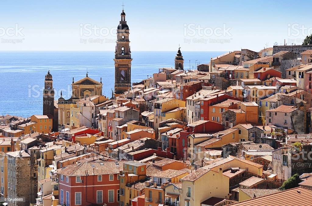 Old town architecture of Menton on French Riviera stock photo