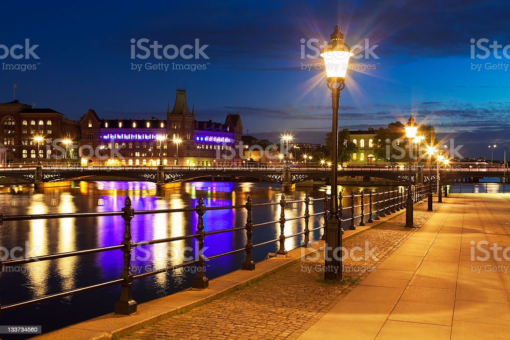 Old Town at night in Stockholm, Sweden royalty-free stock photo