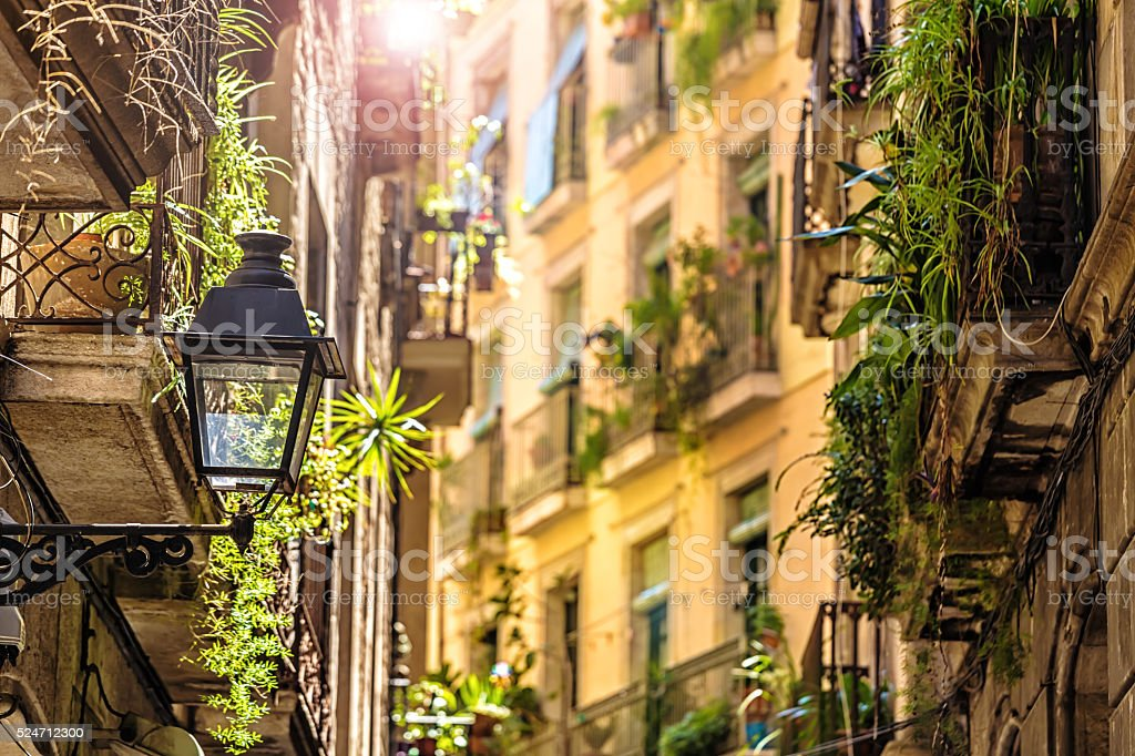 Old Town Barri Gotic in Barcelona stock photo