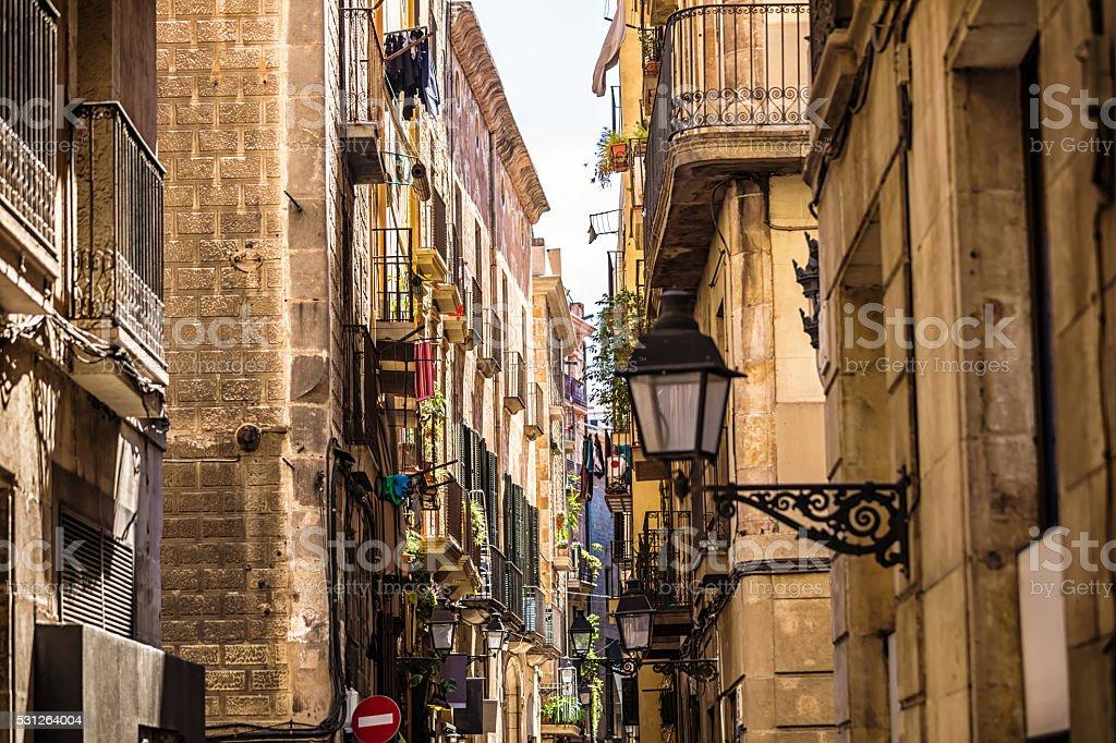 Old Town Barri Gotic in Barcelona stock photo