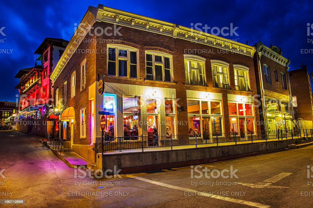Old Town Bisbee Arizona at Night stock photo