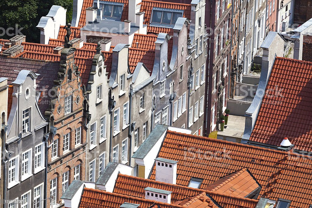 Old town buildings in the centre of Gdansk Poland royalty-free stock photo