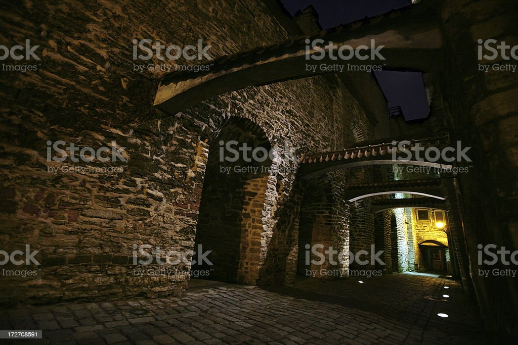 old town by night stock photo