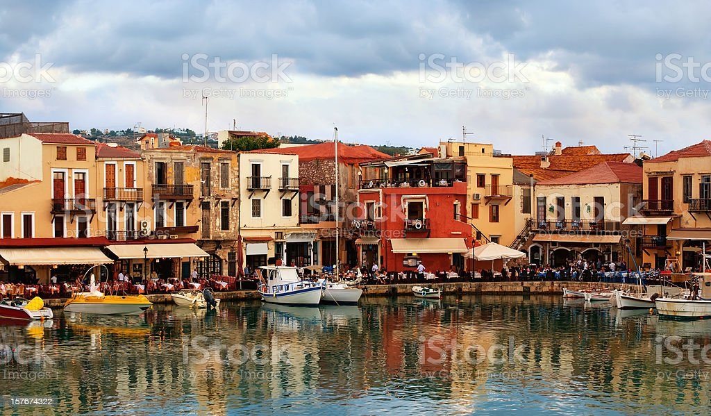 Old town by the sea. Rethymnon stock photo