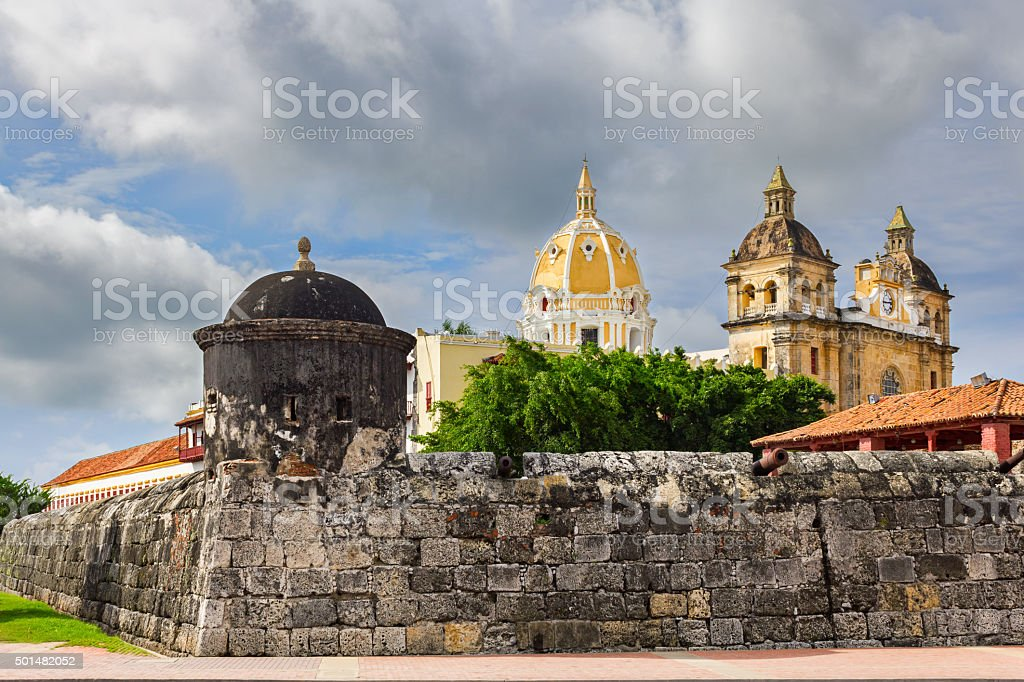 Old Town Cartagena Colombia with Church of Saint Peter Claver stock photo