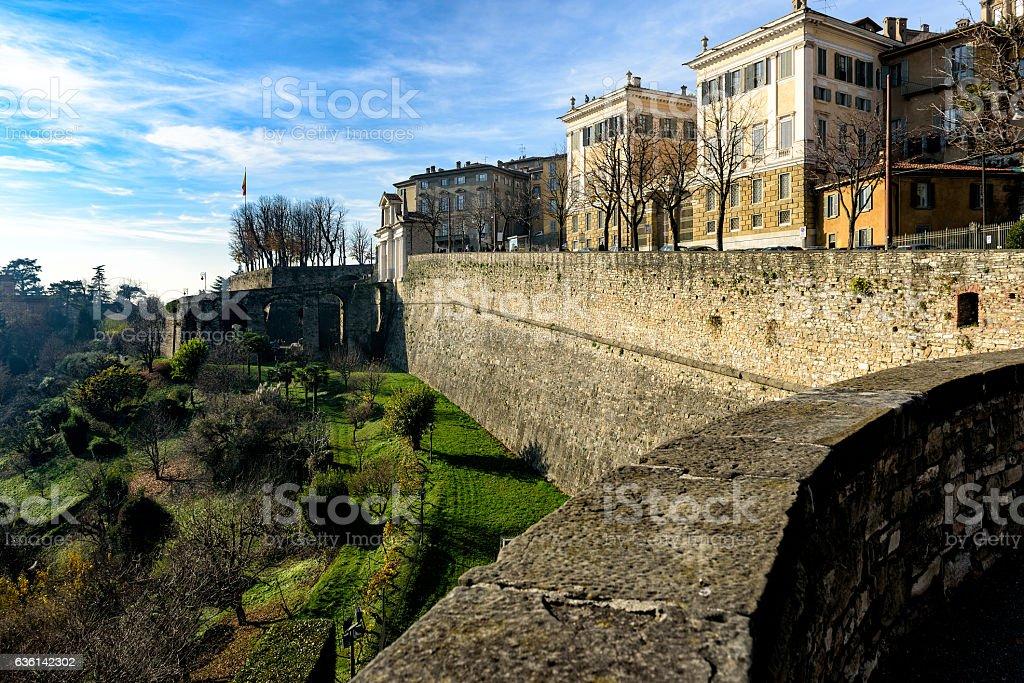 Old Town Citta Alta of Bergamo in Italy stock photo