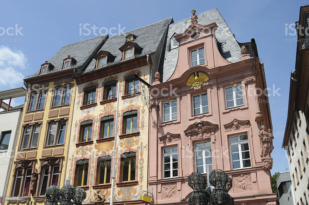 Old Town Cityscape Mainz with houses (Germany) Marktplatz mit Hausfassaden stock photo