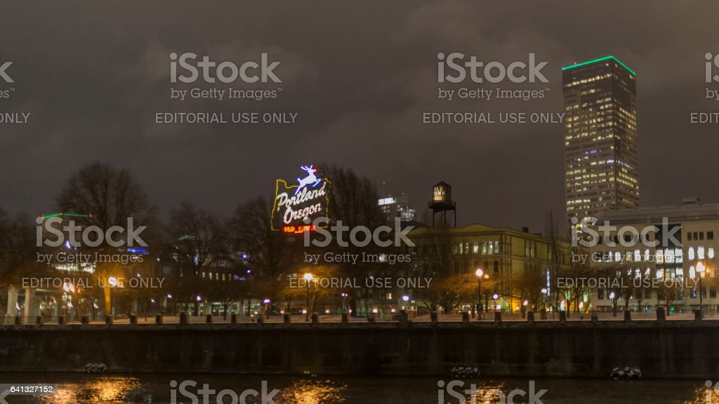 Old Town Downton Portland Oregon Sign City Lights From River stock photo
