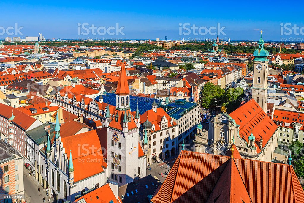 Old Town Hall and Heiliggeistkirche, Munich, Germany stock photo
