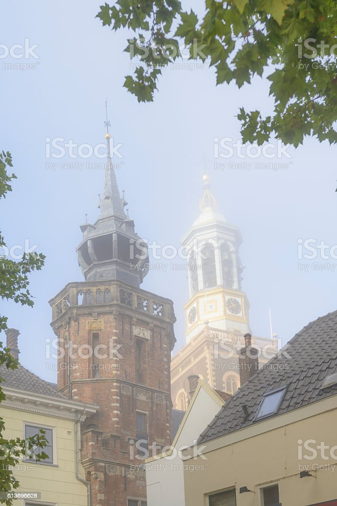 Old town hall and New Tower in Kampen, The Netherlands stock photo