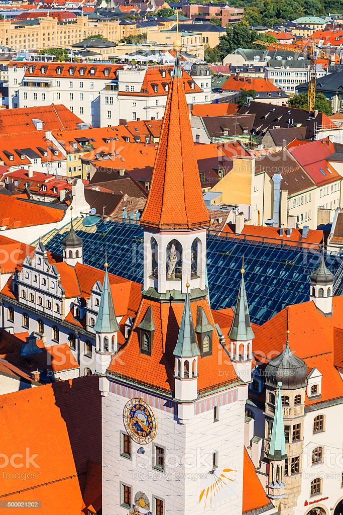 Old Town Hall and red roofs in Munich, Germany stock photo