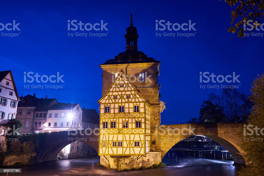 Old Town Hall Bamberg at night stock photo