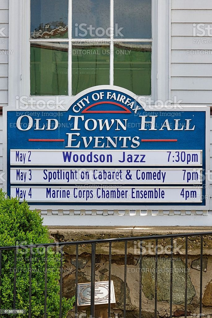 Old Town Hall Events Sign, City of Fairfax, Virginia stock photo