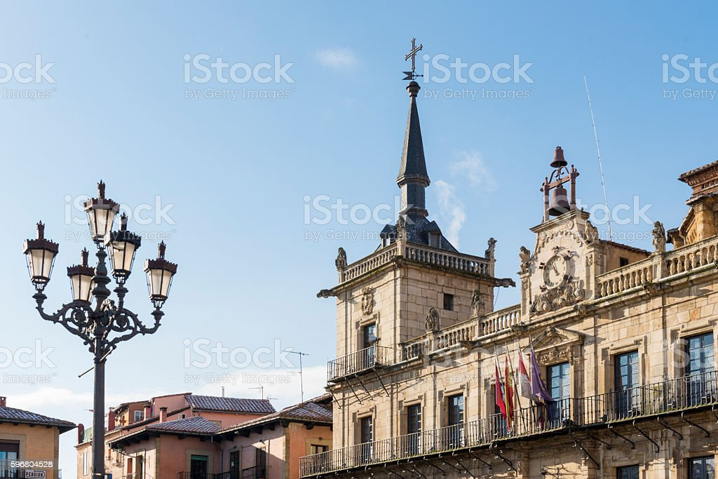 Old Town hall from Leon stock photo