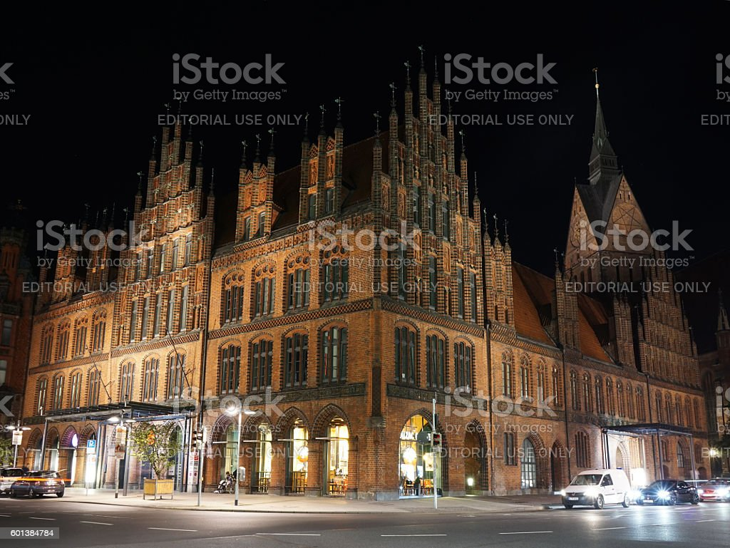 Old Town Hall in Hannover Germany at night stock photo