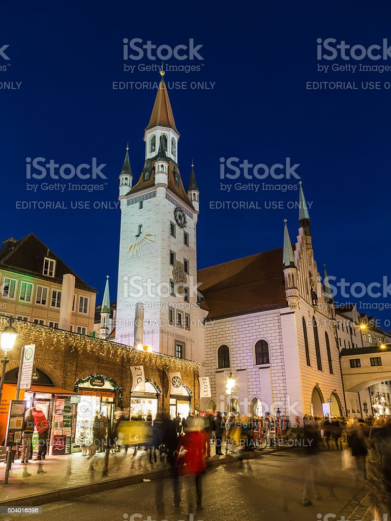 Old Town Hall in Munich at dusk stock photo