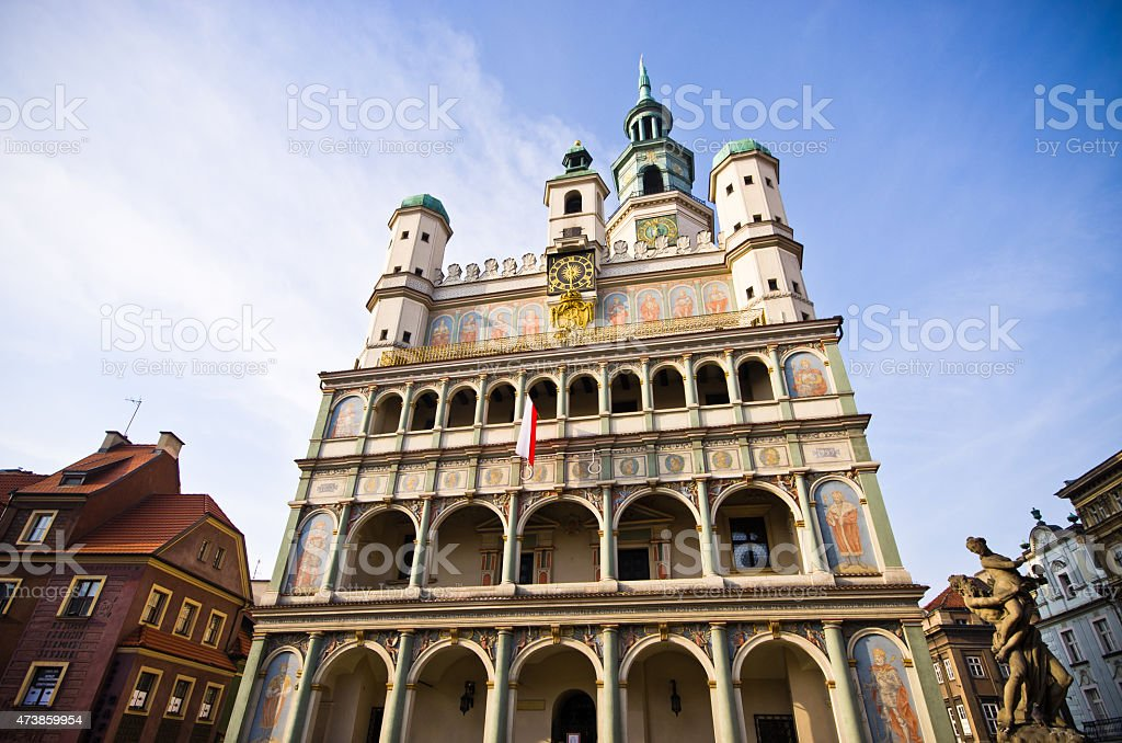 Old town hall in Poznan, Poland stock photo