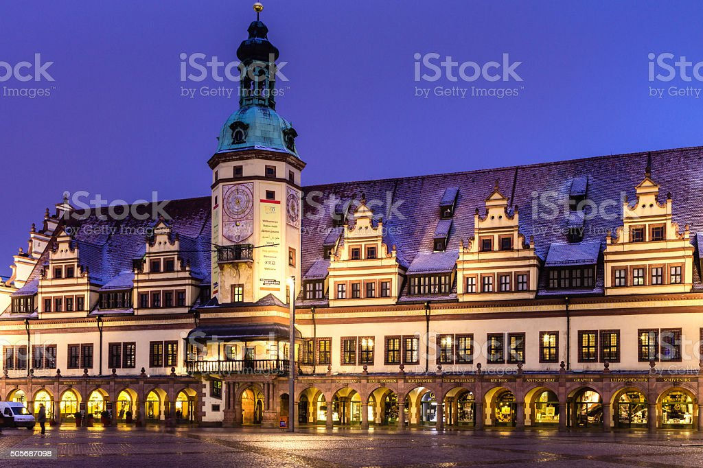 Old Town Hall, Leipzig, at Night stock photo
