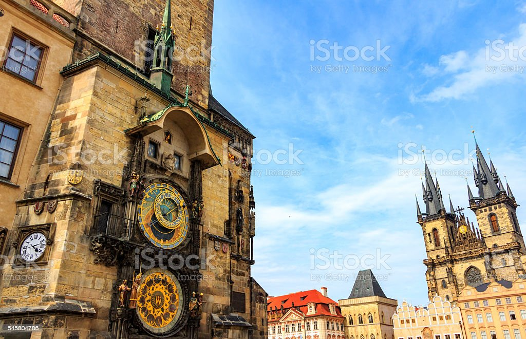 Old Town Hall, Town Square, Church of our Lady Tyn stock photo
