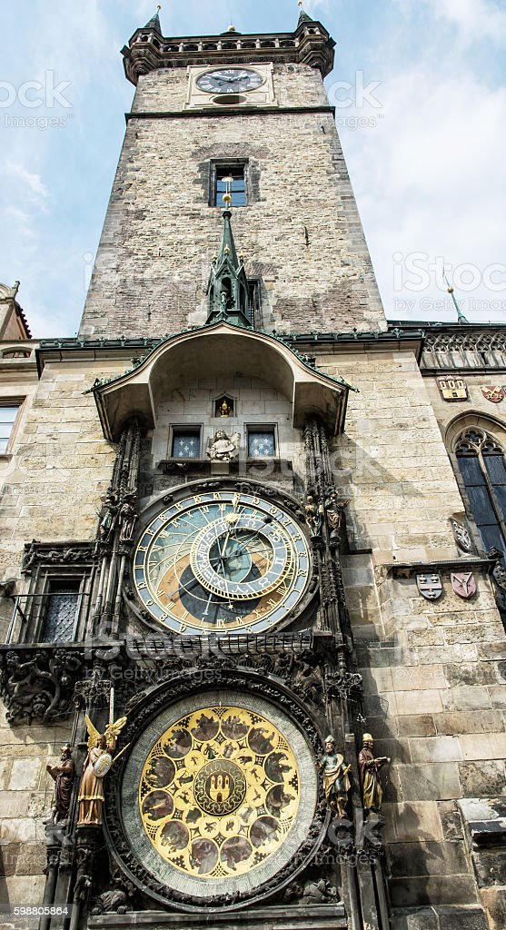 Old town hall with astronomical clock in Prague stock photo