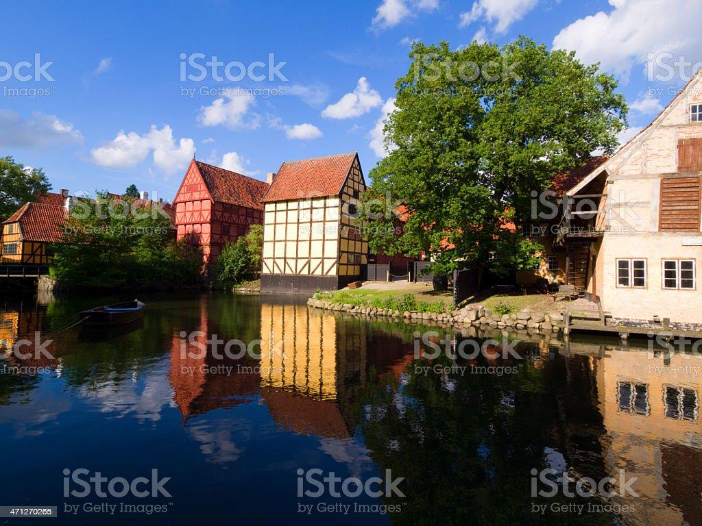 Old town in Aarhus stock photo