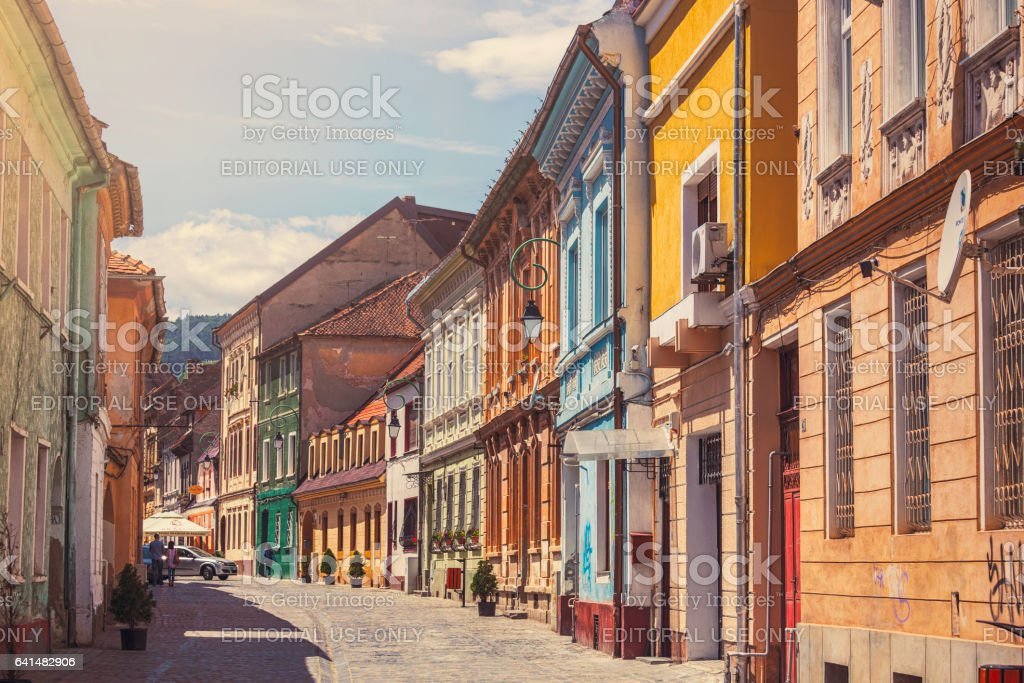 Old town in Brasov stock photo