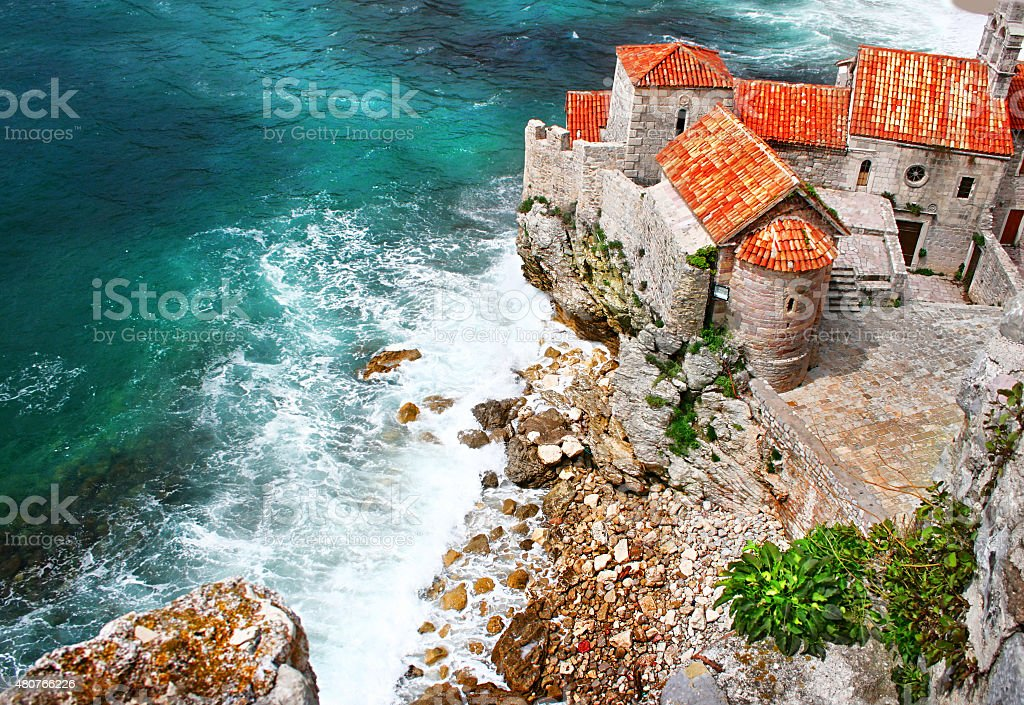 Old town in Budva Montenegro stock photo