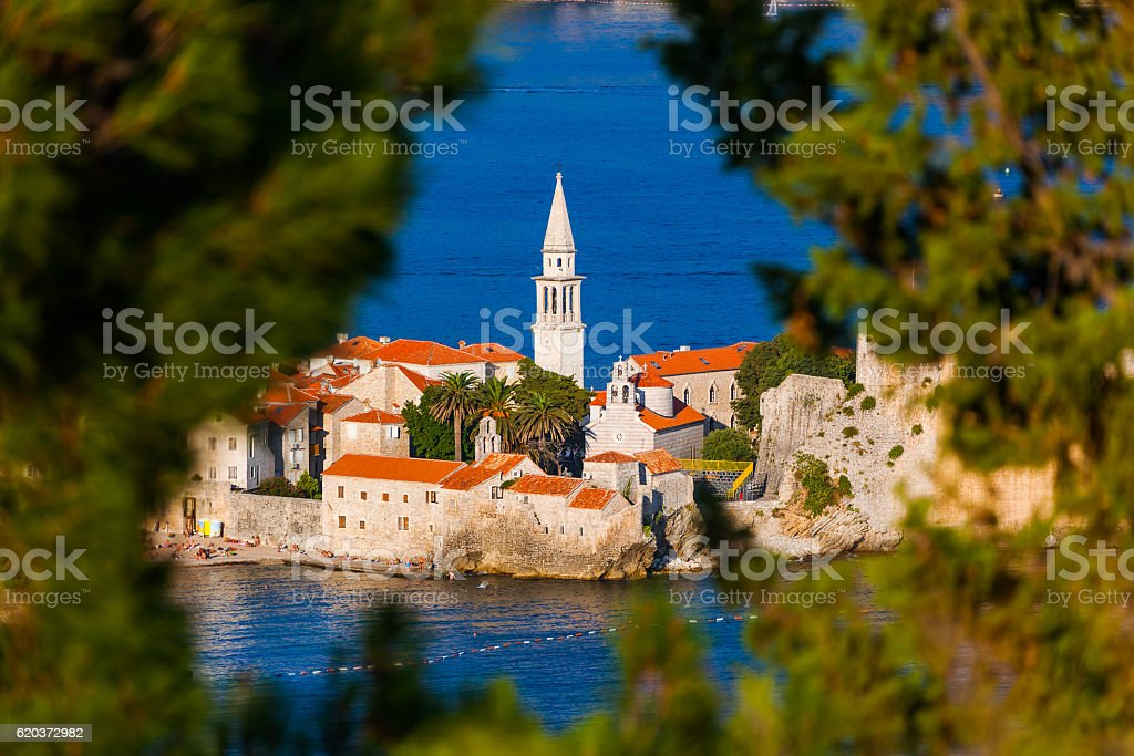 Old Town in Budva Montenegro stock photo