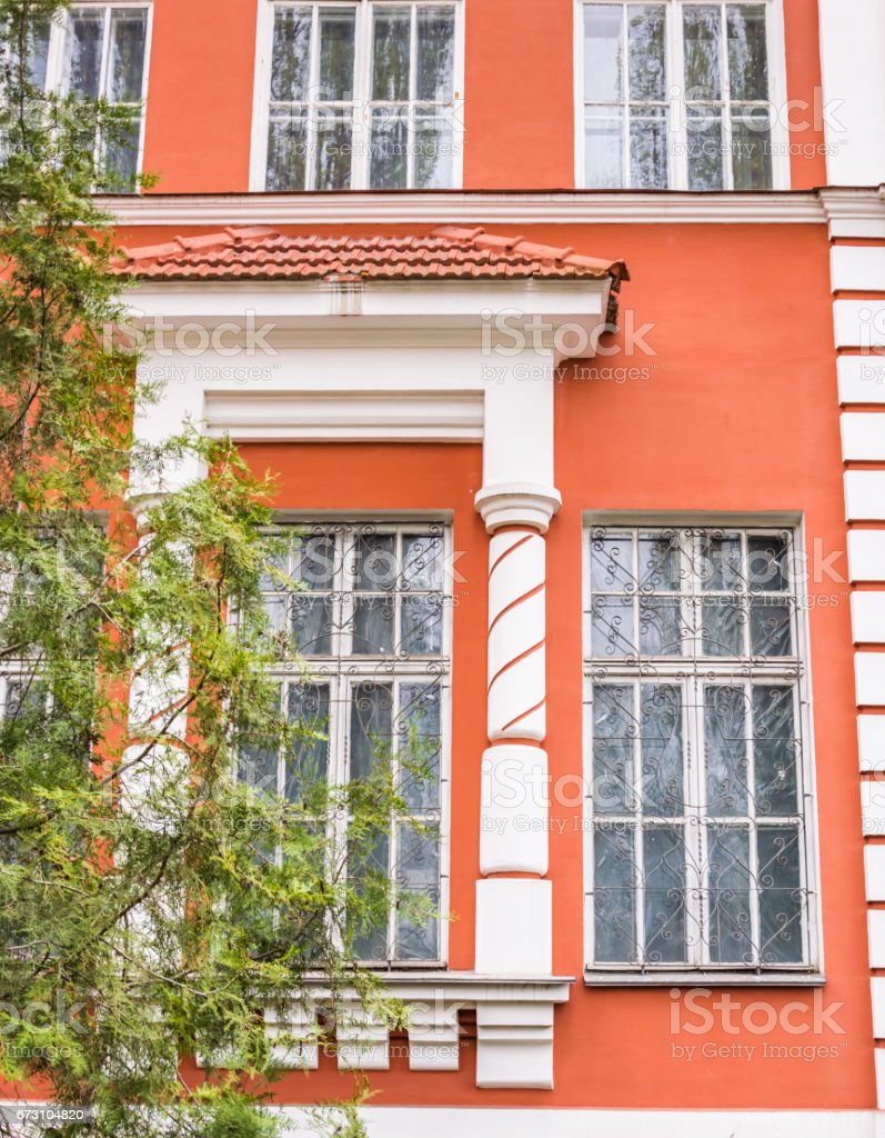 Old town in Eastern Europe. A beautiful window in an old building stock photo