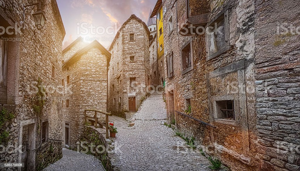 Old town in Europe in beautiful evening light at sunset stock photo