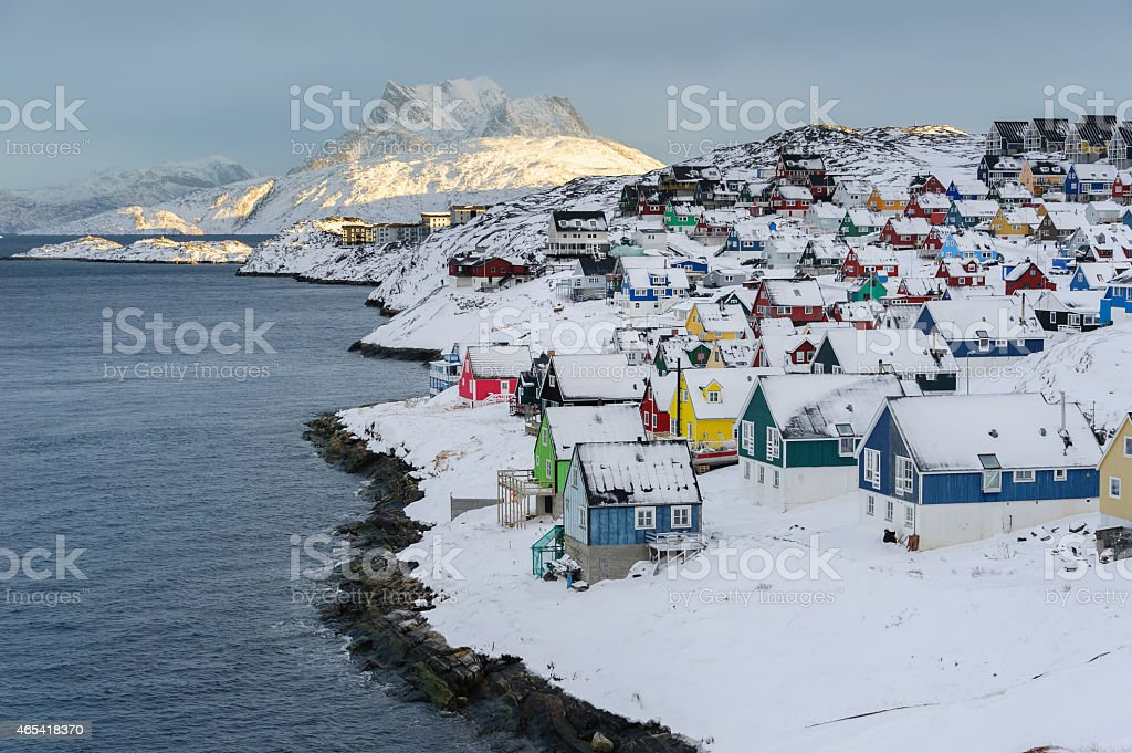 Old Town in Nuuk during winter with snow stock photo