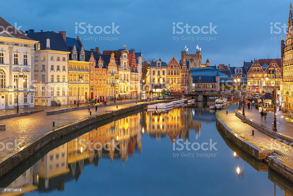 Old Town in the evening, blue hour, Ghent, Belgium stock photo