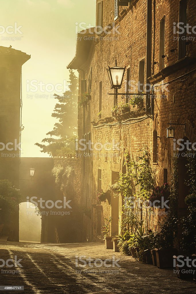 Old town in the morning sunshine stock photo