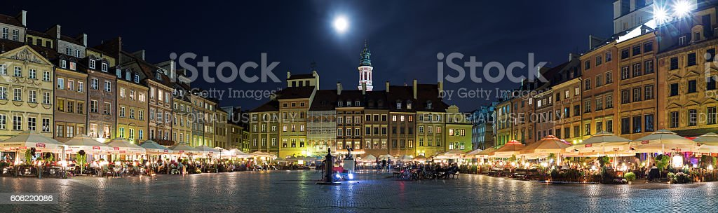 Old Town in Warsaw at night stock photo