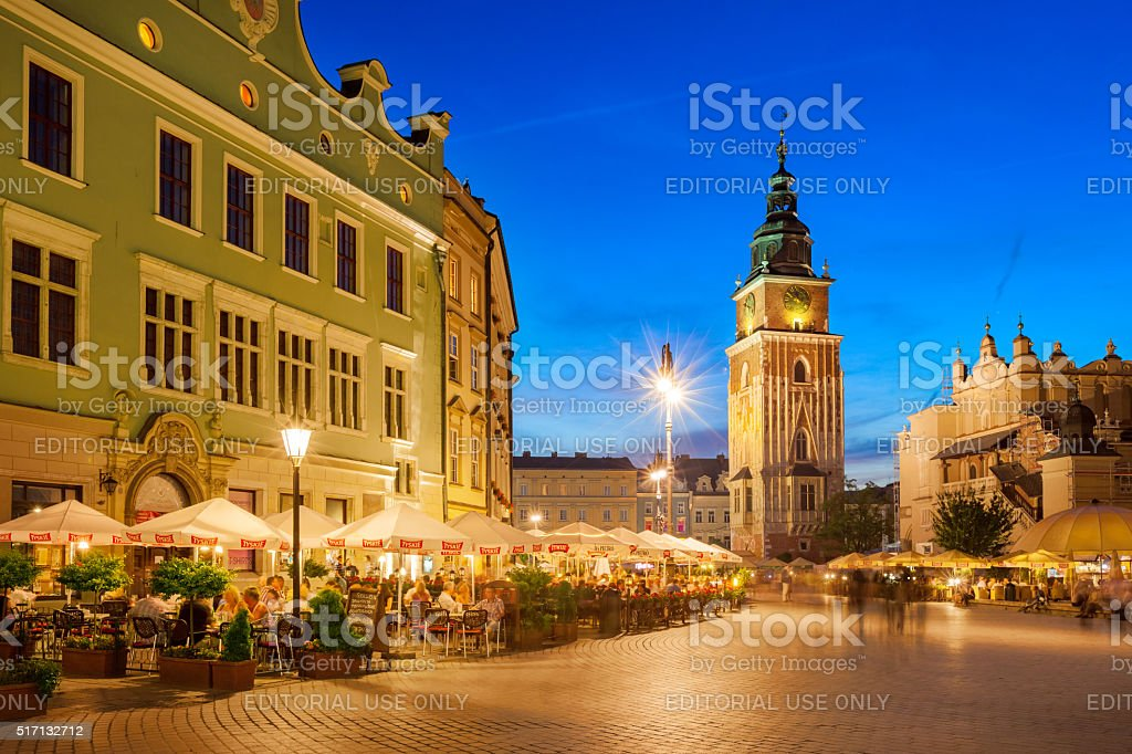 Old Town Krakow Poland with People and Restaurants stock photo