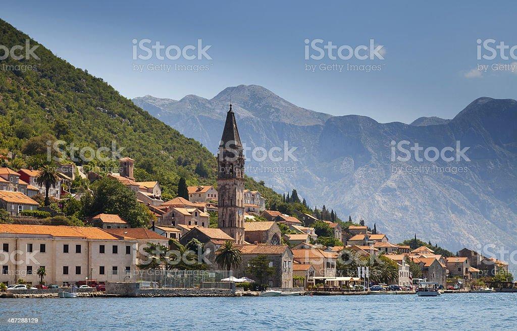 Old town landscape, Perast, Kotor Bay, Montenegro stock photo