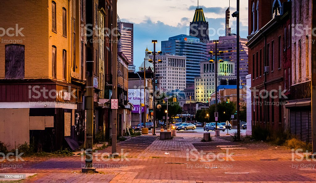 Old Town Mall and view of buildings in Baltimore, Maryland. stock photo