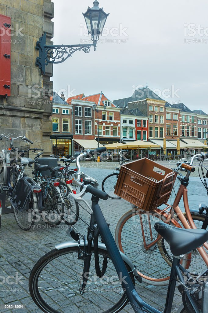 Old town Markt with bicycle parking lot in Delft stock photo