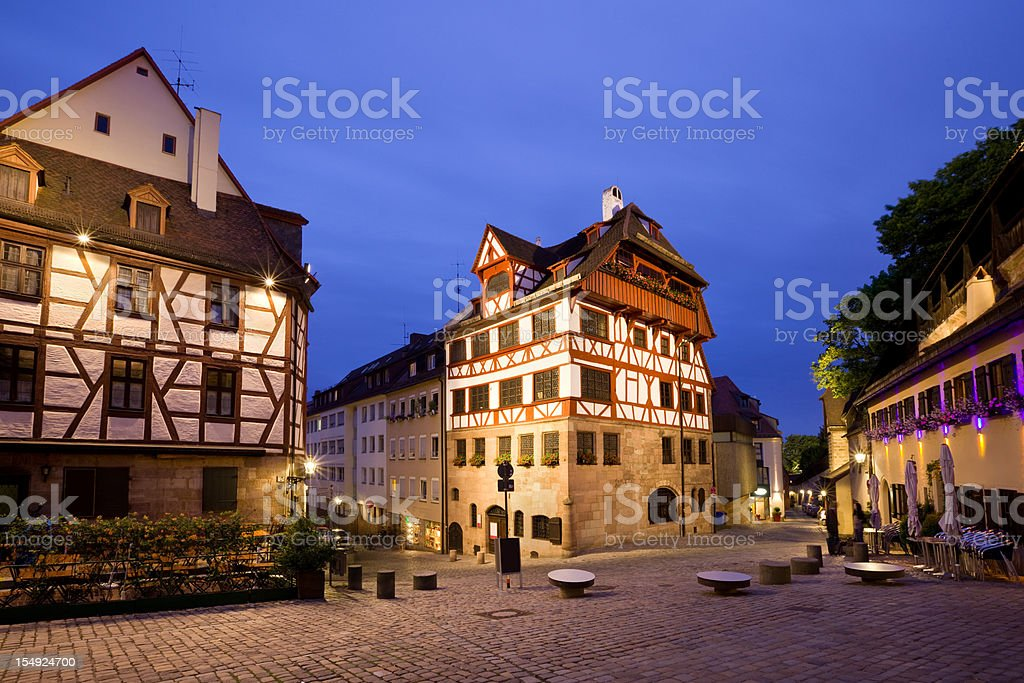 Old Town Nuremberg Germany Half-timbered Houses stock photo