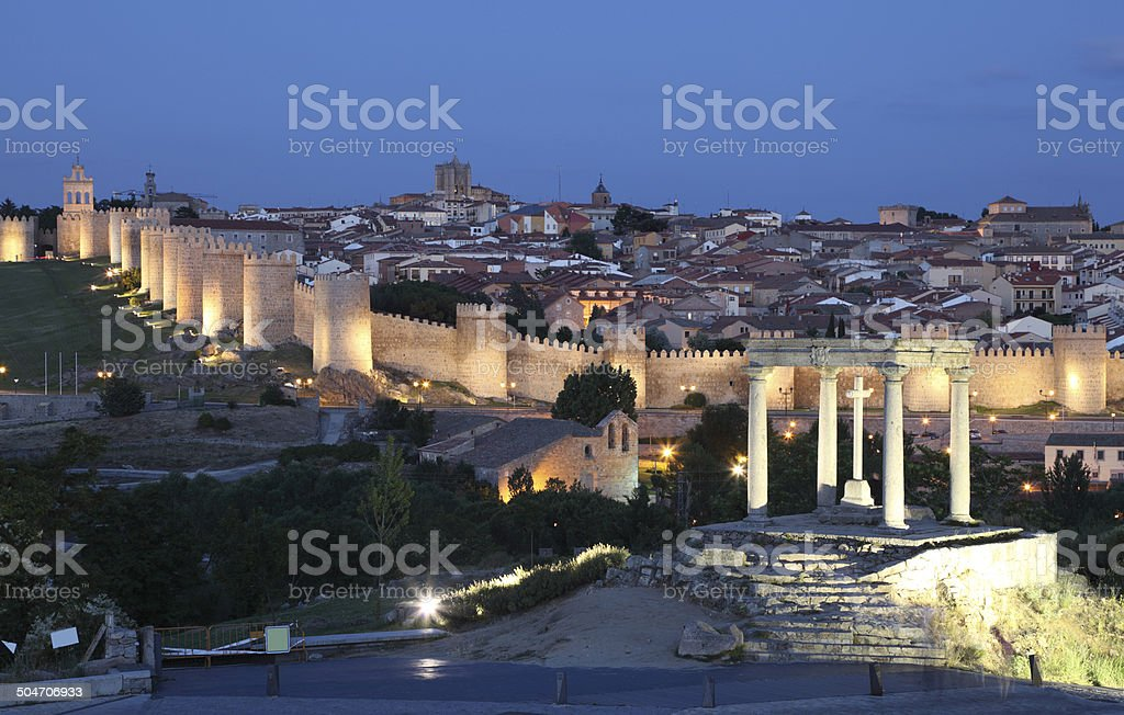 Old town of Avila at night, Spain stock photo