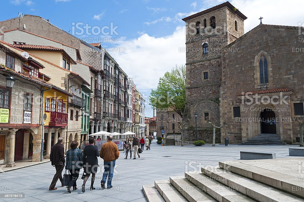 Old town of Aviles stock photo