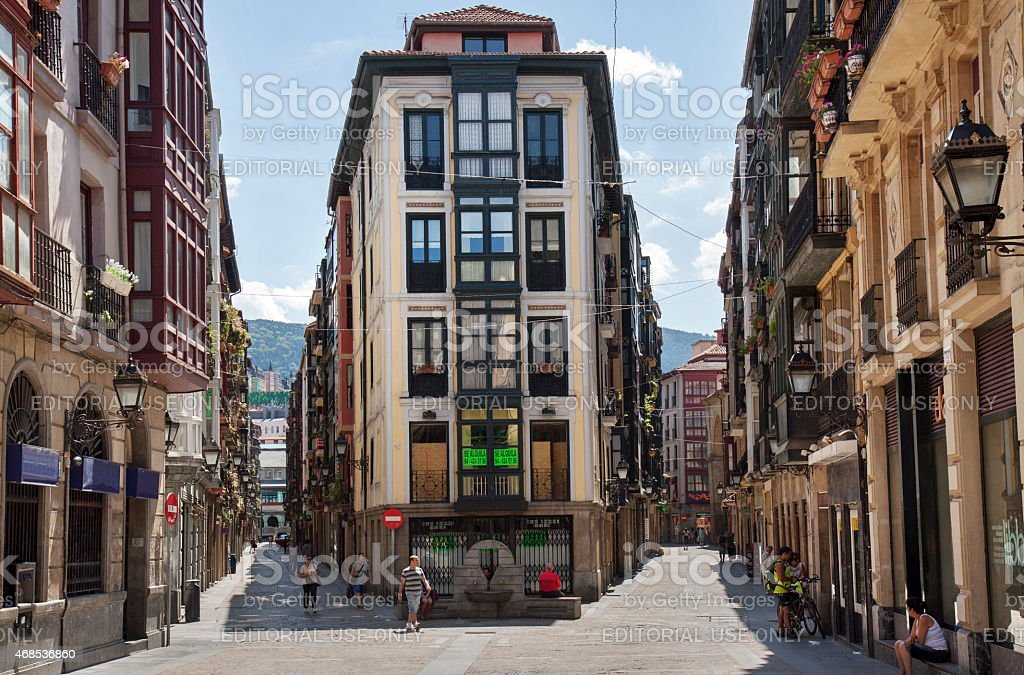 Old town of Bilbao during siesta stock photo