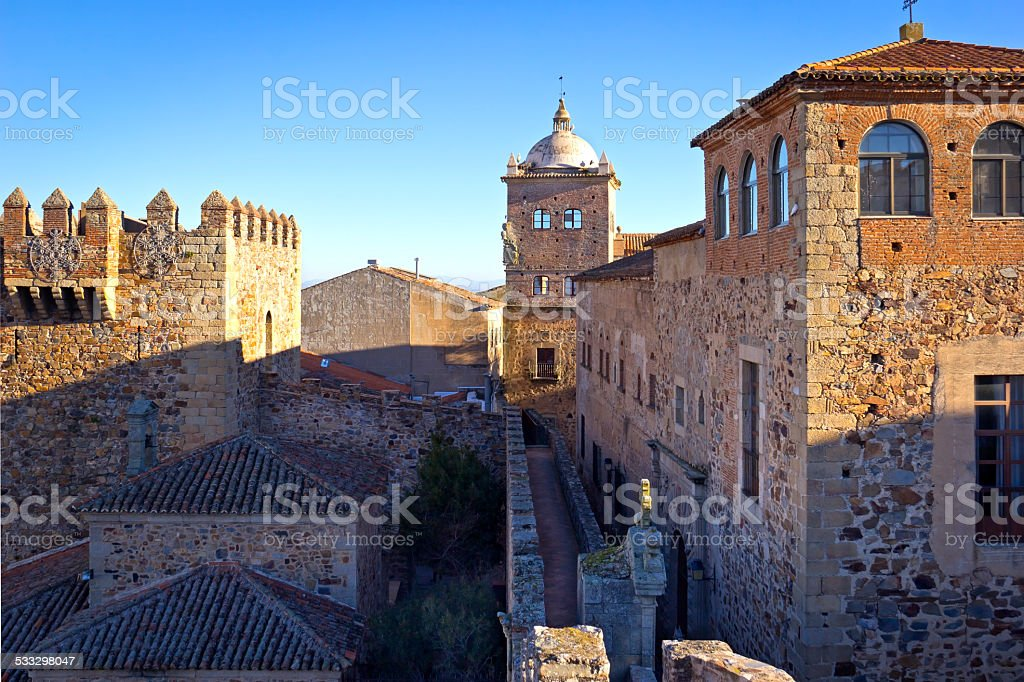 Old Town of Caceres stock photo