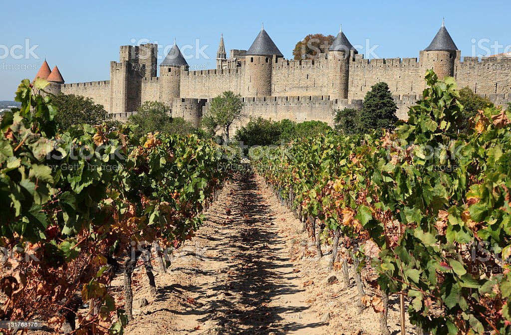 Old town of Carcassonne, France stock photo